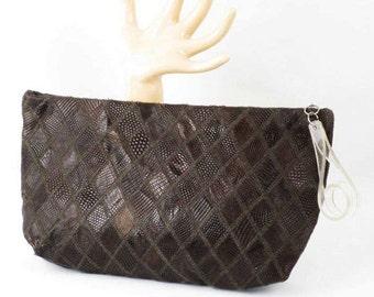 Vintage 1940s Brown Purse Diamond Pattern Lizard Clutch with Lucite Pull Handbag