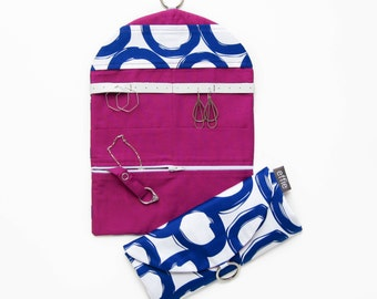 Travel Jewelry Case. Travel Accessories. Royal Blue Circles with Bright Purple Jewelry Travel Organizer. Jewelry Roll. Gifts under 50