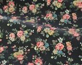 4269 - Cath Kidston Spray Flowers (Black) Matt Oilcloth Waterproof Fabric - 28 Inch (Width) x 17 Inch (Length)