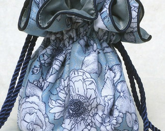 Ethereal Rose Jewelry Pouch, Bag travel organizer in silver, navy and light blue