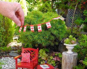 Canada Flag Banner for Miniature Garden or Fairy Garden, Printable DIY PDF, Instant Download, Cute Alert