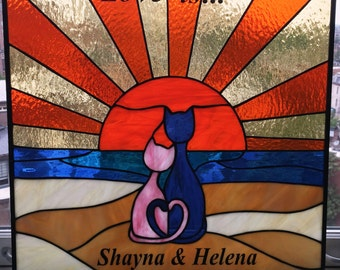 """Stained Glass Panel - """"Love is..."""" (P-55)"""