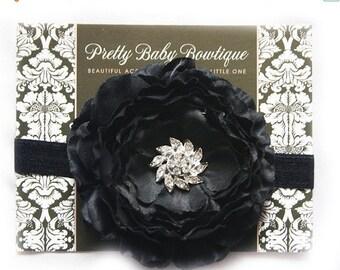 SALE Baby Black Headband..Newborn Headband..Black Flower Headband..Infant Headband....Baby Headbands