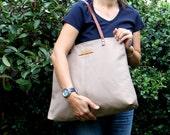 Genuine Leather Straps, Canvas Handbag, Large Shoulder bag, Diaper bag, Hobo Bag, Light Brown, ZIPPER CLOSURE, laptop bag, everyday bag