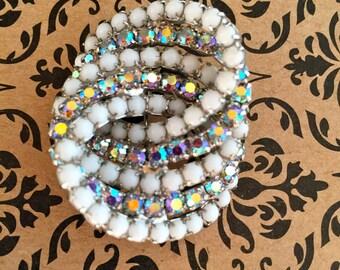 Stunning INFINITY Swirl Vintage Aurora Borealis and Milky White Rhinestone Brooch Pin Wedding Mother of the Bride
