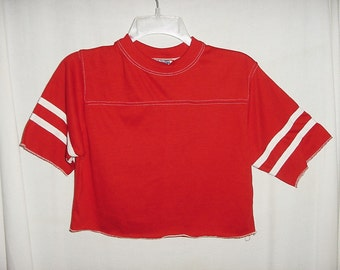 Vintage 80s Red Crop TShirt M Poly Cotton Athletic White Stripes