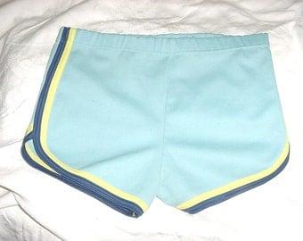 Vintage 70s Girls Poly Knit Hot Pants Blue Shorts sz 14 bch