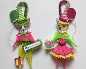 Chihuahua BIRTHDAY ornaments DOG ornaments vintage style chenille ORNAMENTS set of 2