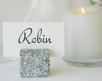 Table Card Holder + Silver Glitter Cube Table Number Holder- Set of 10 w/FREE SHIPPING