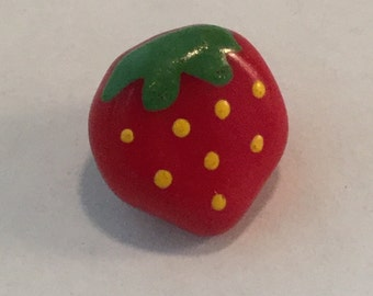 Vintage Glass  Button - Hand Painted Strawberry Fruit