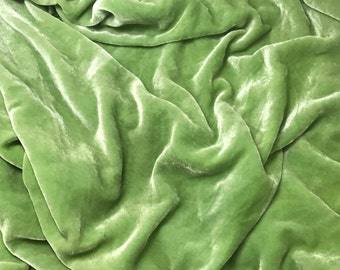 PEAR Green HAND DYED Silk Velvet Fabric fat 1/4