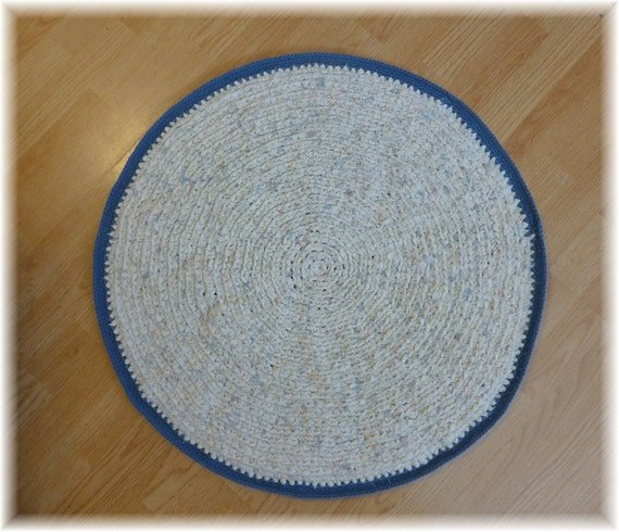 Round Rag Rug Black And White: Round Rag Rug 29 Inches Handmade From Reclaimed By