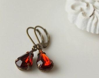 On SALE / CIJ Sale / Old Hollywood, Estate Style Earrings, Glam Allure, Cognac, Vintage Glass Jewel Earrings, Russet
