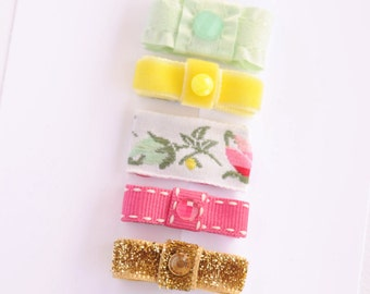 newborn baby girls bitty hair clips collection - vintage floral ribbon snap clips set, baby hair clips