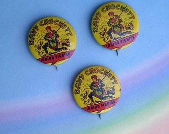 Vintage 50s Davy Crockett Indian Fighter Pinback Buttons Lot 3