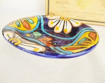vintage soap dish mexican talavera pottery southwest style
