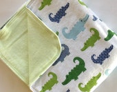 Alligator Green Striped Large Flannel Double Sided Receiving Blanket