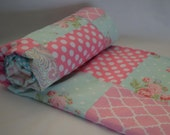 Roses Shabby Chic Baby Quilted Blanket - Floral, Polka Dots, Paisley, Rose, Pink, Aqua Blue, Baby Girl, Nursery