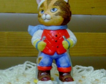 Skier Cat - Charismatic Cats Figurine - Bronson Collectibles