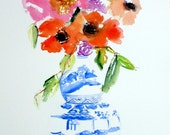 Ginger Jar Print, Blue and White Vase, Pagoda, Fine Art Print, Floral Still Life, Home Decor, Art Decor, Peony, Poppies