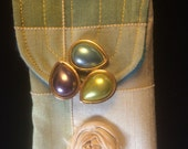 Vintage Brooch, silk saree fabric rose, Fiber Art necklace pouch, wearable art