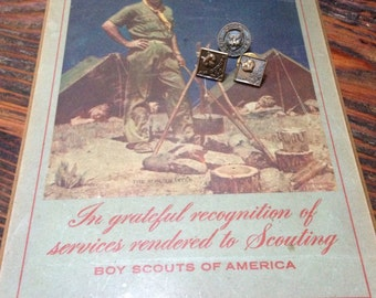 50's boyscout pins and plaque