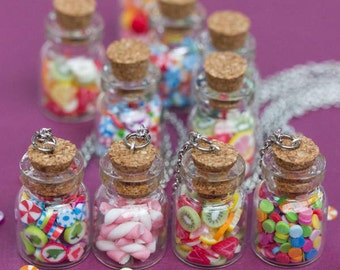 Miniature Candy Jar Necklace, Glass Vial with Fruit, Marshmallow or Rainbow Sweets