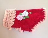 XS Hand Knit Red Flowers Sweater Chihuahua Clothes Yorkie Clothes Small Dog Puppy