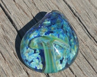 Glass Mushroom Pendant with Ocean Blue Colors
