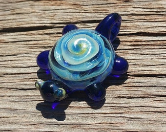 Hand Sculpted Glass Turtle Pendant Bead with Cobalt Blue Color