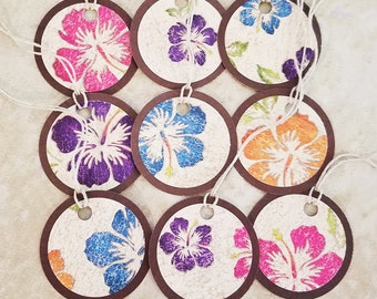 Hibiscus Flower Gift Tags - Set of 9