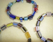 Three Multicolored Cane Glass Beaded Stretch Bracelets