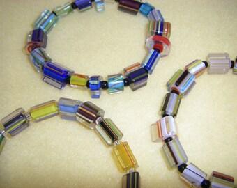 Three Multicolored Cane Glass Beaded Stretch Bracelets handmade bracelet set