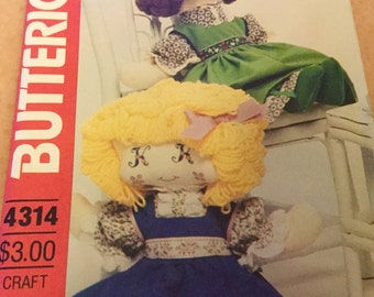 Vintage Doll Pattern, Butterick 4313 with monogram eyes,  19inches tall, uncut