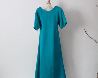 light weight linen wide end short sleeve dress made to measure by annyschoo