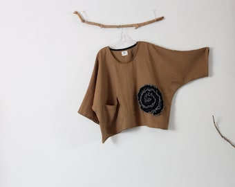 black flower ginger linen top over size ready to wear
