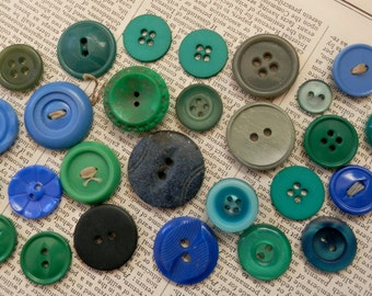 VINTAGE BUTTONS 27 Blue Green Teal Navy Aqua Grey Large Charming Assortment