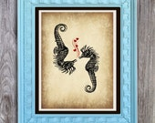 SALE Seahorse Love Art Print Includes 5 backgrounds Instant Digital Download DIY Print yourself