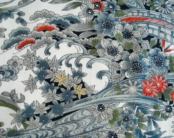Vintage Japanese Kimono Fabric - LAST PIECE - Blue Grey Blossoms with Waves and a Bridge
