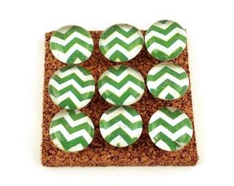 Decorative Funky Push Pins  Thumb Tacks Cork Board Pins  Green Chevron (P121)