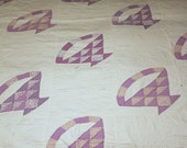 Sweet Purple & Floral Cotton Fabric Hand Quilted Vintage 1940s 1950s Basket Quilt