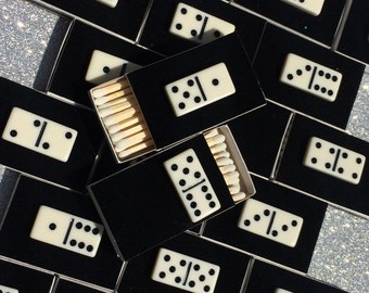 10 Domino Matchboxes - Party Favor - Wedding Favor Black and White