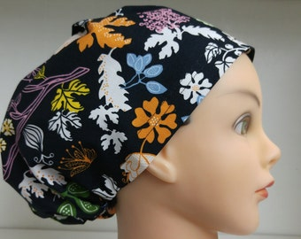 Scrub Hat Chemo Chef Surgical Cap Women's Hybrid Style IKEA Bird Black Orange