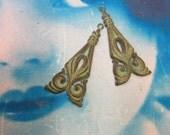 Verdigris Patina Brass Ornamental Dangles 467VER x2