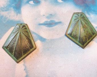 Verdigris Patina Art Deco Style Brass Stamping Pendants 278VER x2