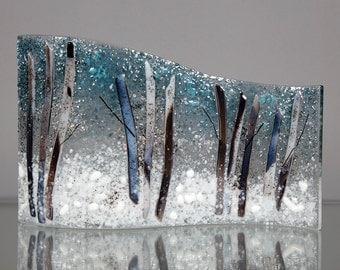 Fused Glass Decorative Panel - BluDragonfly SRA - Winter Scene - Large Glass Panel