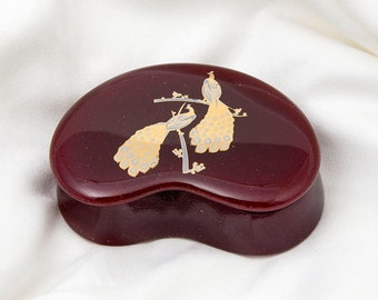 Fused Glass Trinket Box - BluDragonfly SRA - Peacocks