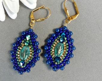 Beadwork Earrings.Brick Stitch Earrings.Cobalt Blue Beadwork.Lapis Pearl.Designer Inspired Earrings.Crystal Pearl.Blue Earrings.CRYSTAL BLUE