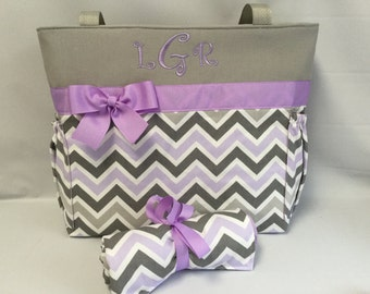 Personalized Chevron Diaper Bag SET  .. Changing Pad  .. Gray and purple Zoom Chevron