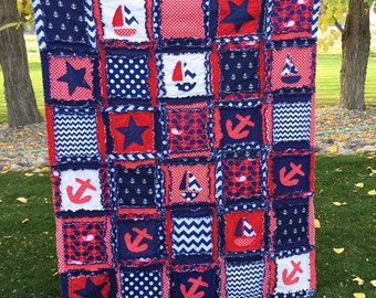Nautical Rag Quilt in Red, White, and Blue - Rag Quilt Throw or Toddler Bed Quilt- Blue Nautical Quilt- Red Anchor Comforter Toddler Bedding